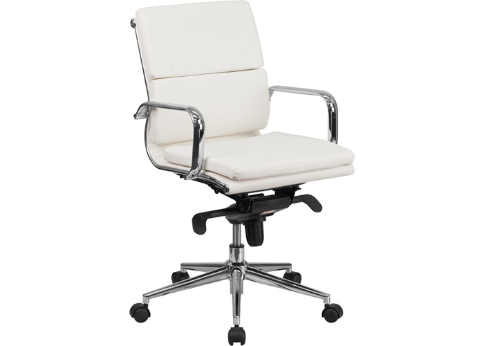 Modern Office Conference Room Chair White Leather Meeting