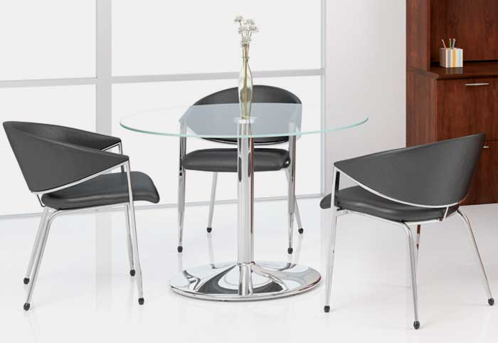Round Glass Conference Table With High Polished Chrome Base   OfficePope.com