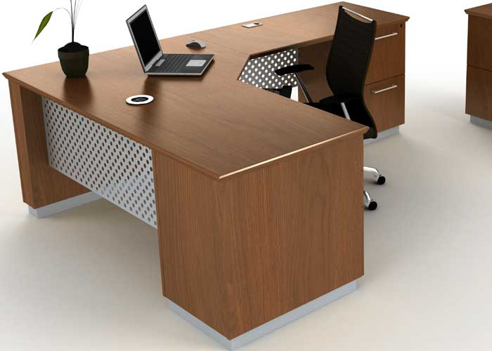 Modern L Shaped Executive Desk With Metal Amp Wood
