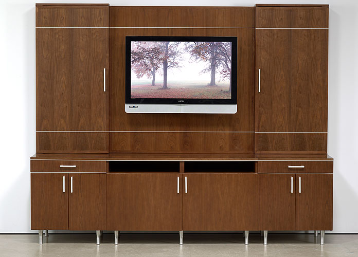Media Wall Unit, Credenza Cabinets w/ Presentation Board ...