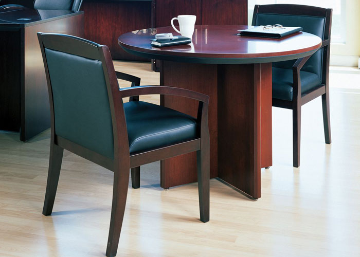Round Conference Table Set With 2 Or 4 Chairs Office Room Cherry Or Mahogany New Ebay