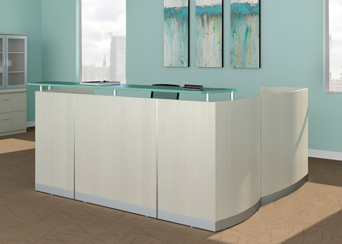 Details about MODERN L-SHAPED RECEPTION DESK White Receptionist Station  Waiting Room Salon NEW