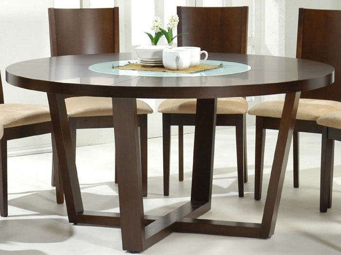"Round 60"" Dining Table Set, Modern 9 Piece Set"