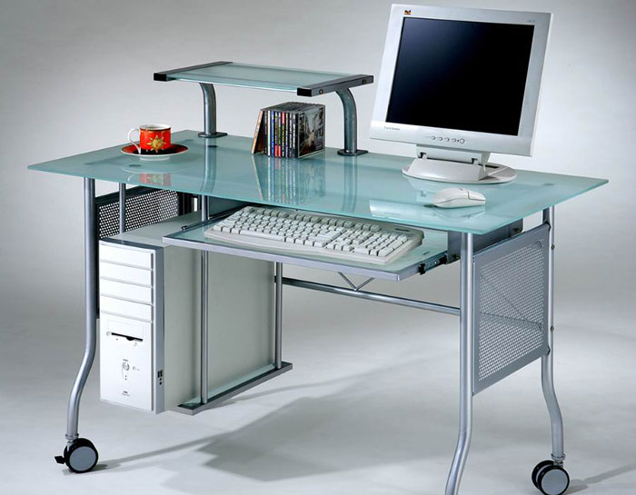 Glass top computer desk home office metal contemporary modern frosted glass new ebay - Glass office desk ikea ...
