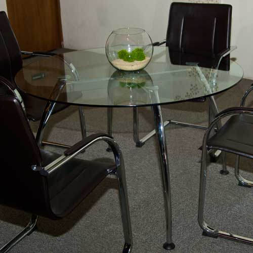 Round Glass Conference Table with Chairs Set Glass Office Table