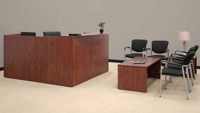 reception desk receptionist station secretary office area cherry o mahogany wood. Black Bedroom Furniture Sets. Home Design Ideas